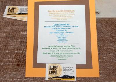 Slow Meat menu created by Megan MacMillan of North Fork Food