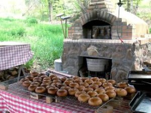 Breads and oven at Small Potatoes Bakery