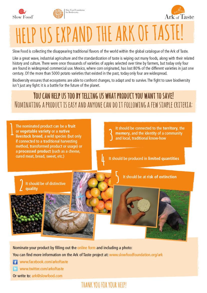 Image of Ark of Taste flyer regarding biodiversity